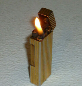 Dunhill-Lighter-Rollalite-Vertical-Ribbed-Gold-Tone-Vintage-Working-Condition
