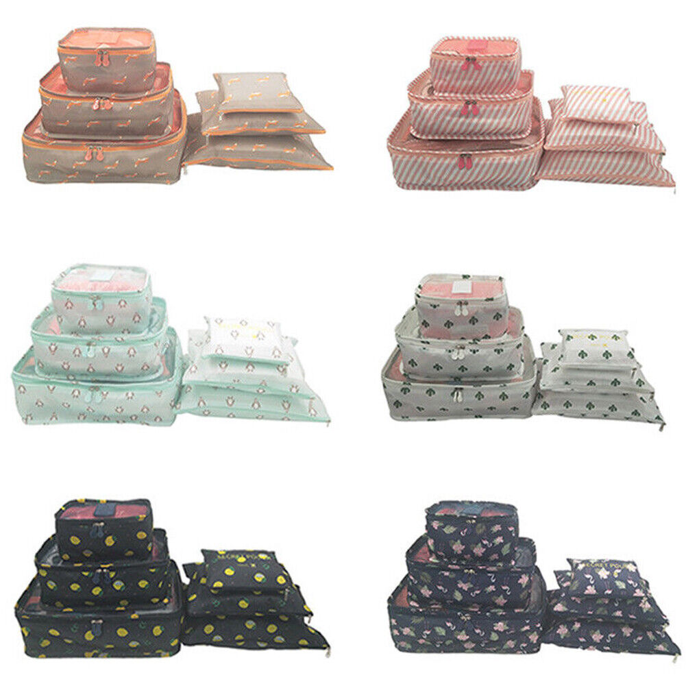 6 Waterproof Packing Cube Compression Clothes Storage Bag Travel Inser... - s l1600