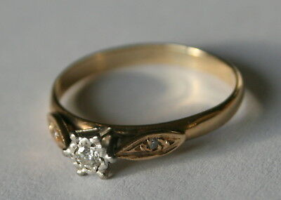 375 Gold Diamond Ring Full Hallmarks Jewelry & Watches