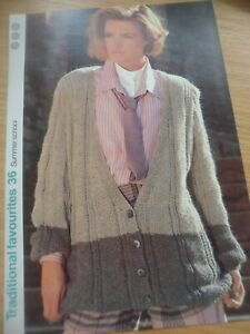 Amical Vintage Rare 1980 S 1985 Knitting Pattern Dames Rib & Moss Stitch Cardigan 97 Cm-afficher Le Titre D'origine Fabrication Habile
