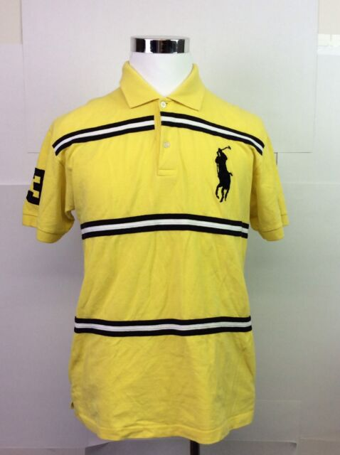 Men's POLO BY RALPH LAUREN 100% Cotton Yellow Golf Shirt XL Large Horse Crest