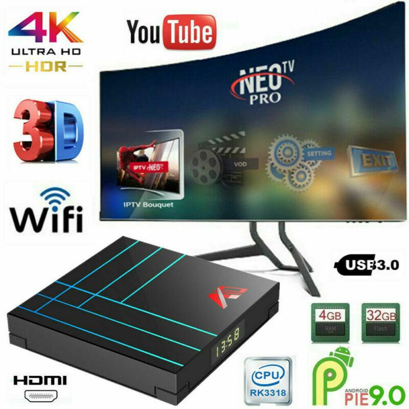 A10 4K HD Smart TV Box Android 9.0 16GB/32GB/64GB Quad Core Media Streamer US# a10 android box core media quad smart streamer