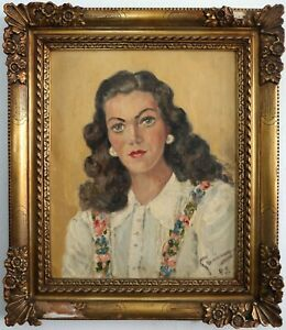Portrait-One-Boys-Woman-1945-Signed-Hard-Readable-45-Oil-on-Canvas
