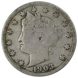 1903 Liberty Head V Nickel 5 Cent Piece VG Very Good 5c US Coin Collectible