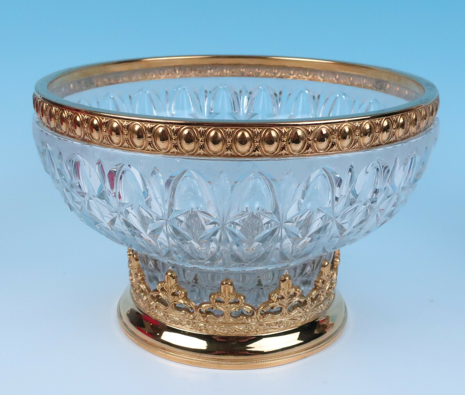 Large Italian Gold Gilt Ormolu Mounted Glass Centerpiece Bowl & Stand Towle