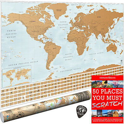 Scratch Off World Map by Voyager Zone - 24x36 Large Wall Poster - Made in  USA | eBay