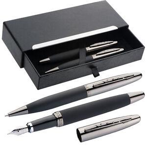 Mark-Twain-Metall-Schreibset-mit-Kugelschreiber-und-Fuellfederhalter