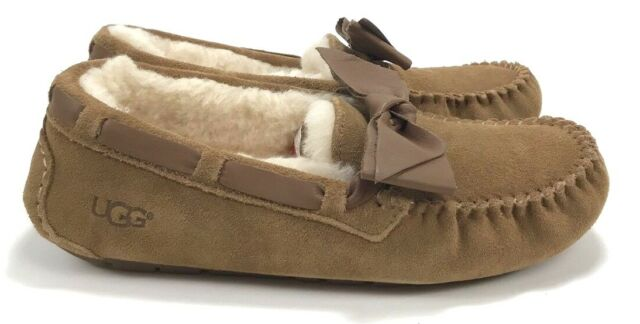 544fff838e0 Uggs UGG Dakota Leather Bow SLIPPER Suede Chestnut Shoes 8 1020031