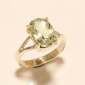 3-40Gm-Natural-Green-Amethyst-Ring-925-Solid-Sterling-Silver-Ring-Size8-m644