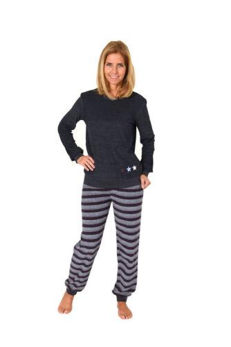 Damen Frottee Pyjama Rundals Hose in Ringel-Optik 60447