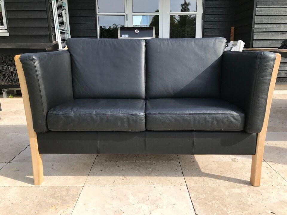 Sofa, læderlook, 2 pers.