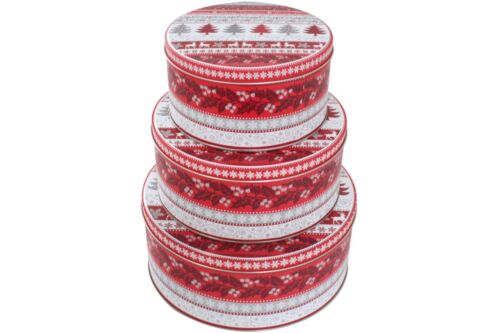 3er Set Gebäckdose Noël Motif Rouge Blanc Métal Cookie Gâteaux Boîte Hiver