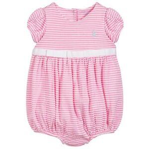 d4e43e06c962 RALPH LAUREN baby girl pink bubble ROMPER striped 3 6M 9 12M jersey ...