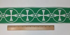 Vintage-Casula-Bianco-Croce-su-Verde-4-034-Bendaggio-Venduto-da-da-Campo
