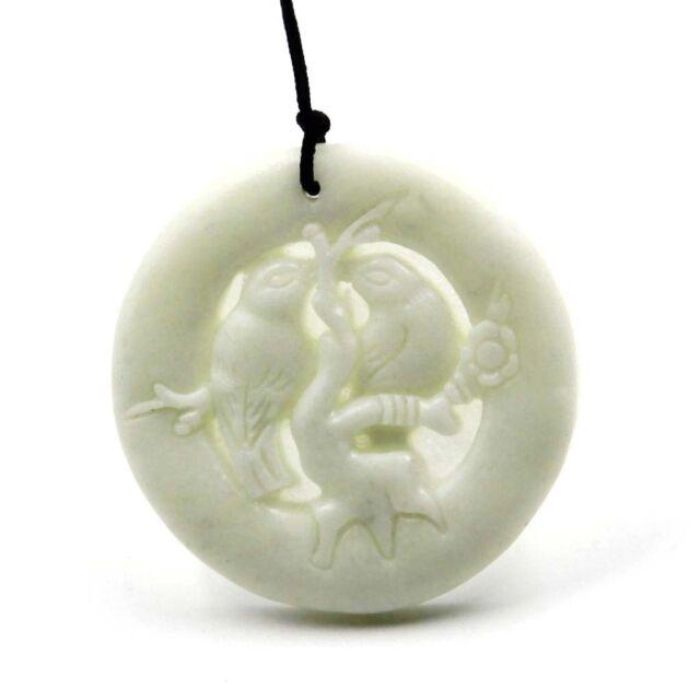 White Jade Double Birds Plum Blossom Pendant Happy Lucky Jewelry