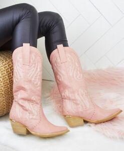 Mujeres-senoras-de-cuero-de-imitacion-rosa-vaquero-occidental-Estilo-Botas-al-Tobillo-Calzado-Bota