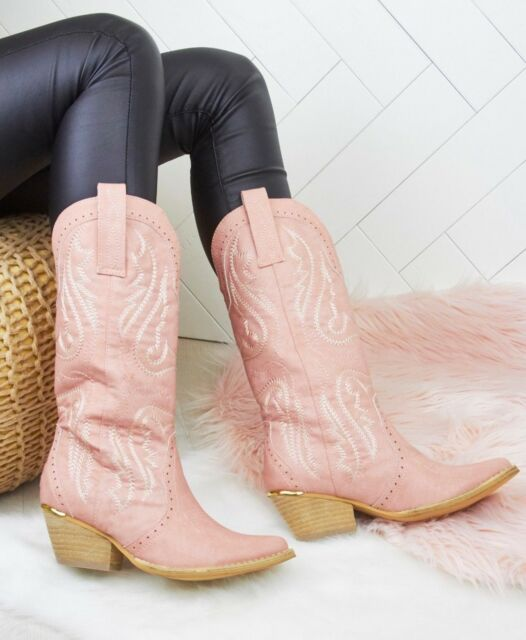 8c4d0718449 WOMENS LADIES FAUX LEATHER PINK COWBOY WESTERN STYLE ANKLE BOOTS SHOES BOOT  SIZE