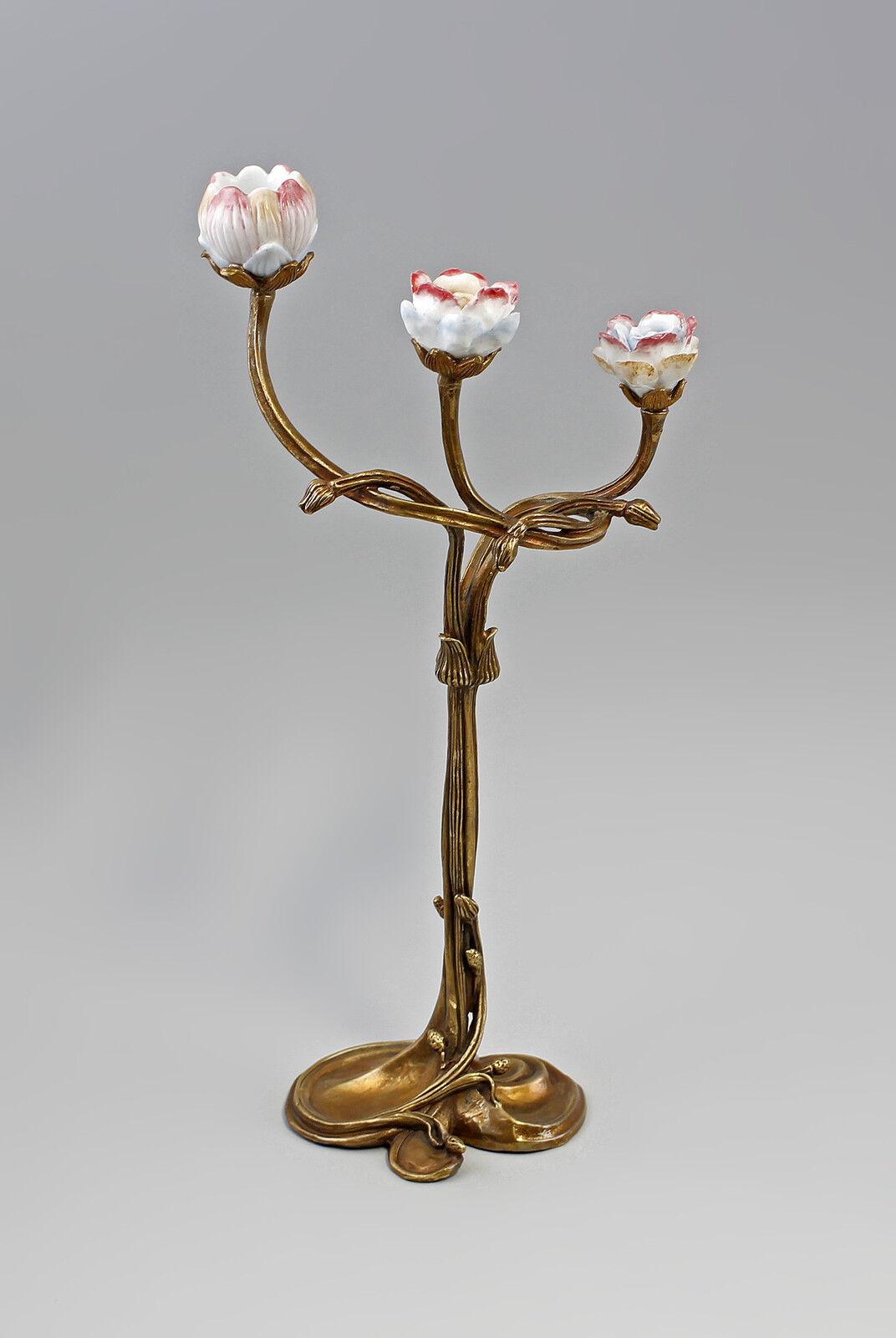 Floraler Kerzenhalter mit Blütenbelag Keramik Bronze 9937463-dss    Bekannt für seine schöne Qualität