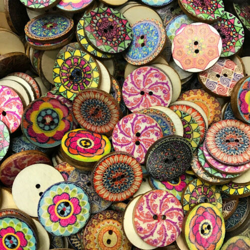 100Pcs Flower Picture Wood Button 2 Holes Mixed Color Apparel Sewing DIY Gift