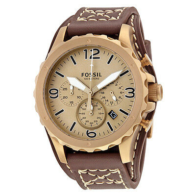 Fossil Nate Chronograph Gold Dial Brown Leather Mens Watch JR1495