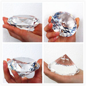 80mm Glass Crystal Clear Paperweight Cut Glass Giant Diamond Centerpiece Decor