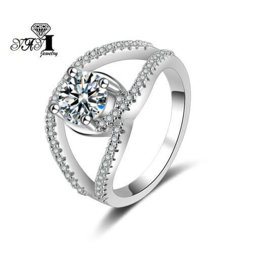 Princesses Cut 925 Silver Filled White Sapphire Birthstone Wedding  Rings Gift