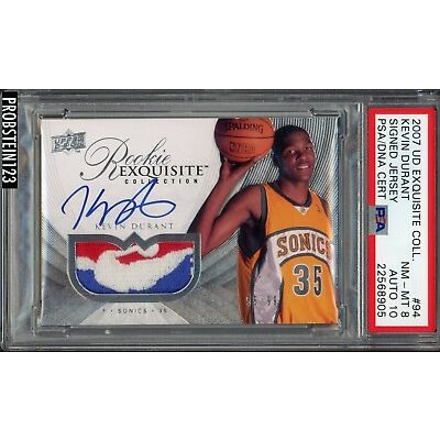 2007-08 UD Exquisite Kevin Durant RPA RC NBA Logoman Patch PSA PSA/DNA AUTO 10