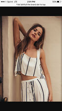 Faithfull The Brand Del Rio White And Navy Tripes Top Size Small