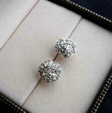 White Gold gp Elegant 0.5ct Round Cut lab Diamond Pave Knot Stud Earrings New