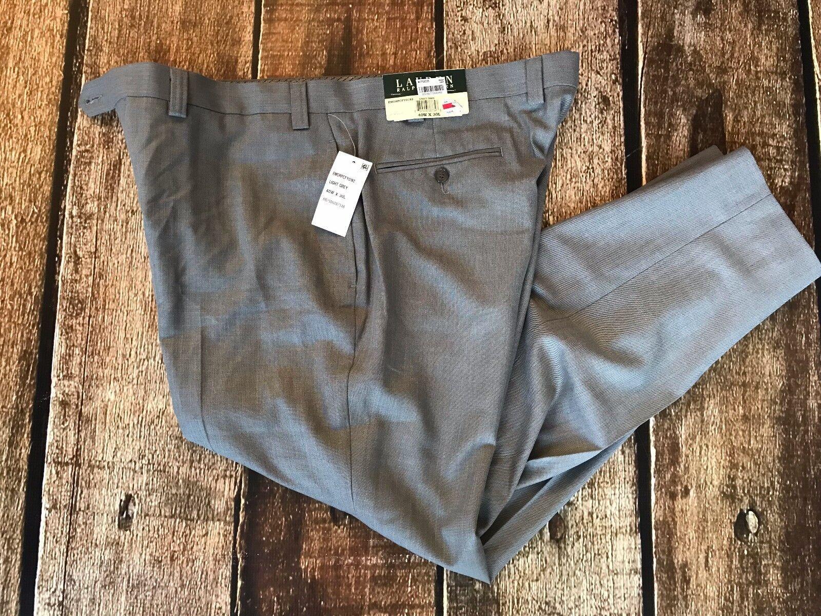 Lauren Ralph Lauren Solid Dress Pants Light Grey Mens Size 40x30 New