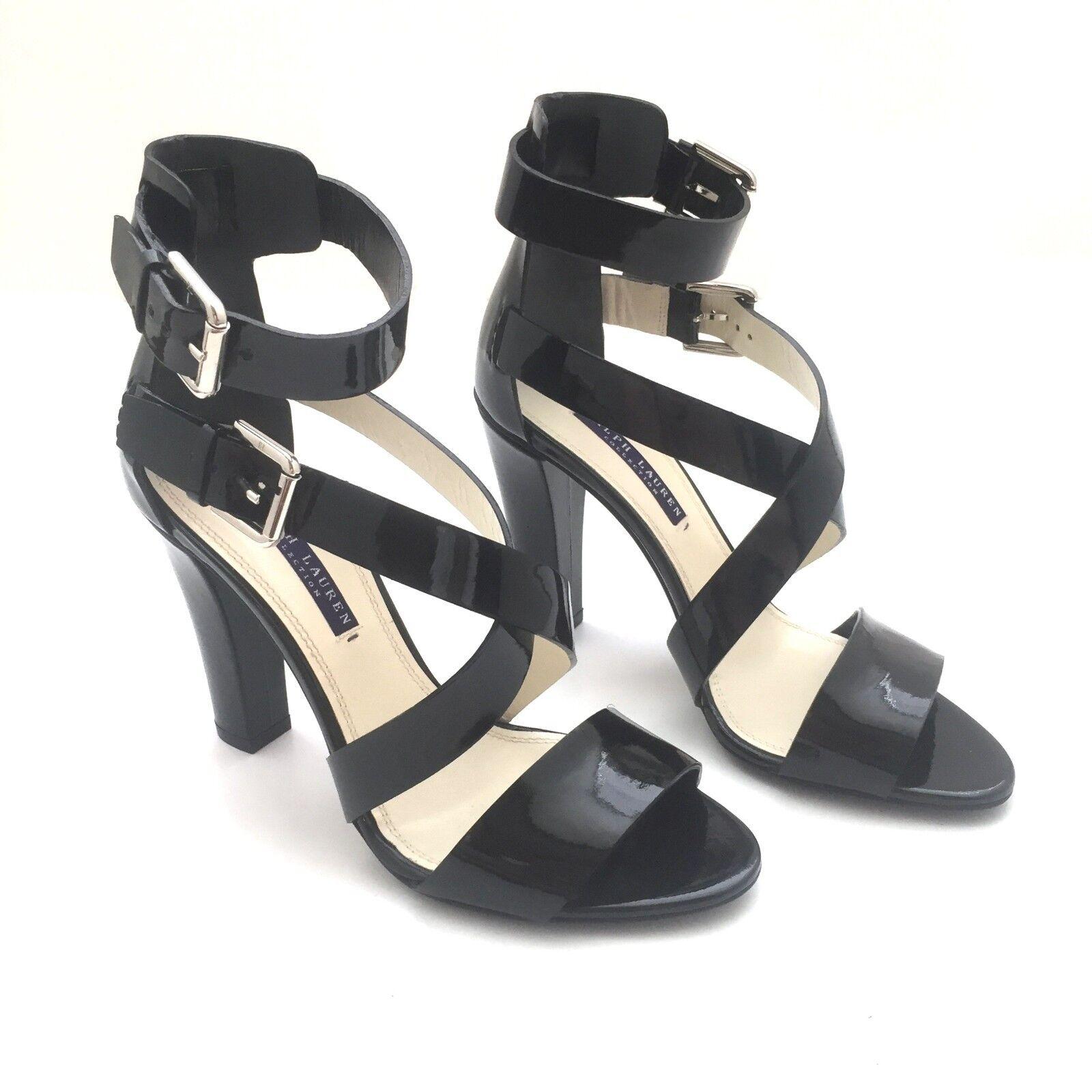 la migliore selezione di NWT  650 Ralph Lauren viola Label Collection nero nero nero Leather High Heels AUTHENTIC  vendita outlet online