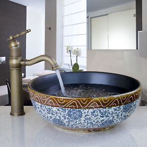 Classical Round Ceramic Bowl Bathroom Sink Basin Vanity Antique Brass Faucet Set Ebay