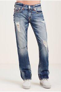 True-Religion-Straight-Flap-Pocket-Red-Stitch-Ripped-Jeans-W30-L34-TD171-CC-14