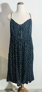 Supply Atmos & Here Plus Size 20 Black Lace Up Midi Dress Polka Dots