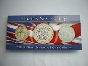 2005-BRILLIANT-UNCIRCULATED-COIN-COLLECTION-BRITAIN-039-S-NEW-COINAGE-3-COIN-SET