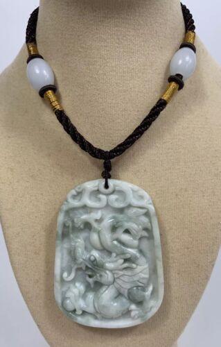 Cable de trabajo nudo Artesanal Ajustable Dragón Colgante//Collar De Jade