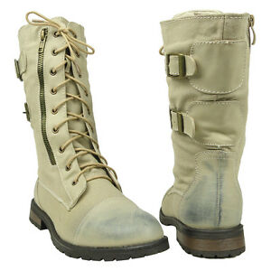 Womens-Mid-Calf-Lace-Up-Military-Combat-Boots-w-Buckle-Strap-Beige-Size-5-5-10