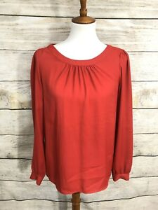 Ann-Taylor-LOFT-Long-Sleeve-Red-Blouse-Top-Womens-Small