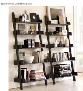 Fine Details About Pottery Barn 2 Studio Wood Wall Shelves Black 300 For The Set Home Interior And Landscaping Spoatsignezvosmurscom