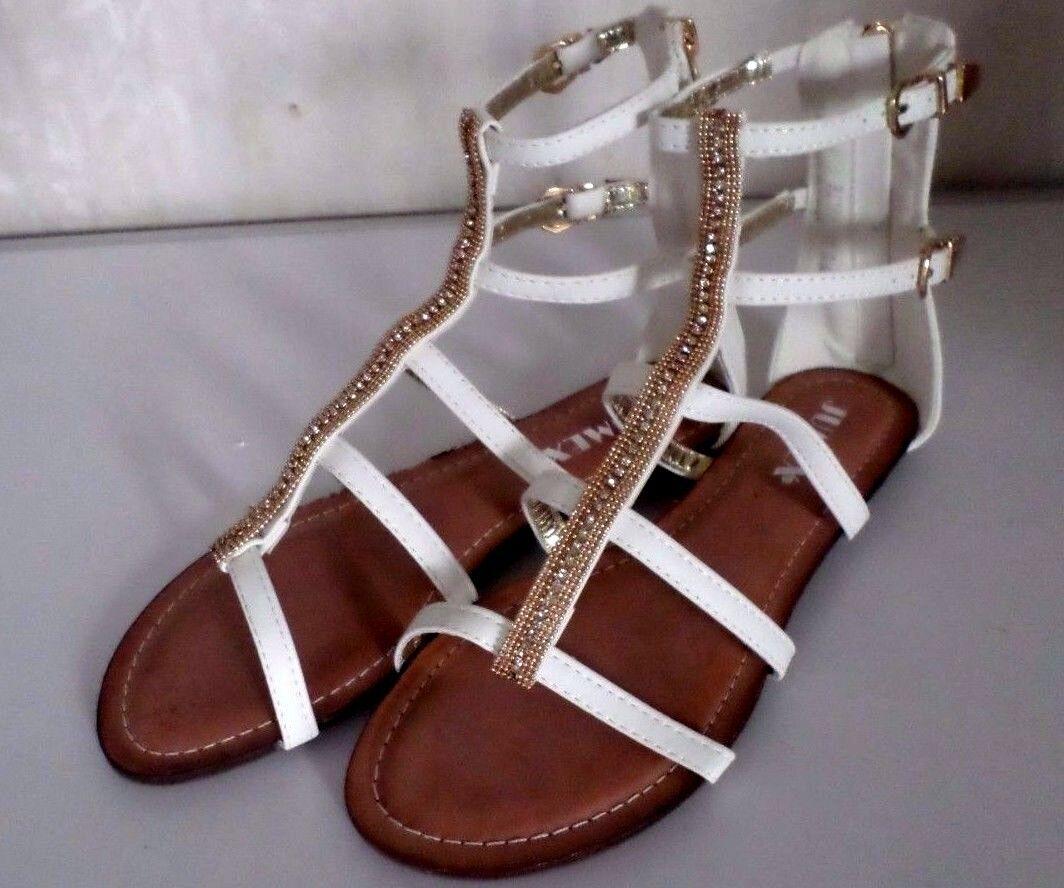 Damen Römer-Sandale flache Sommerschuhe Reißverschluß Weiß Jumex Gr.36,5 NEU