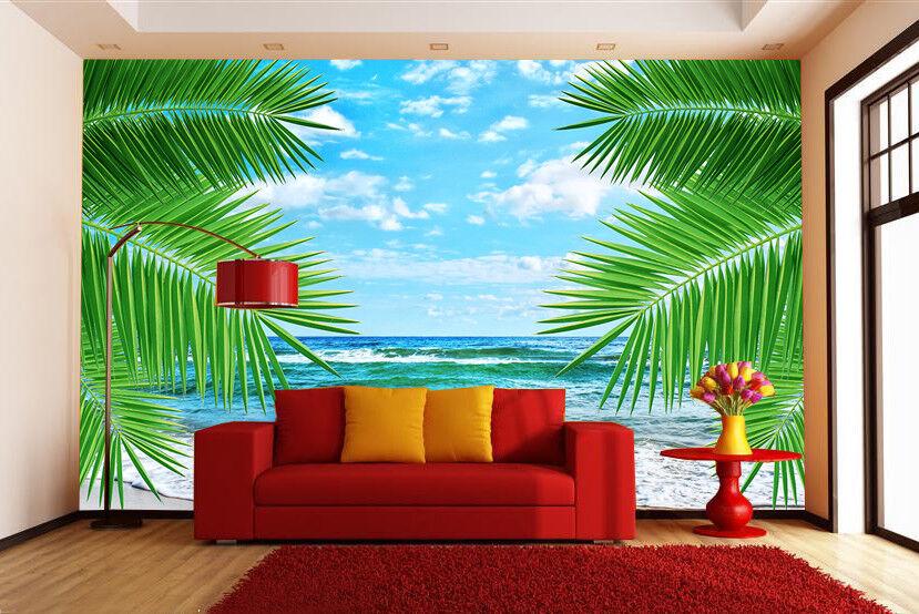 3D Grüne Blätter Strand 743 Tapete Wandgemälde Tapete Tapeten Bild Familie DE | Lassen Sie unsere Produkte in die Welt gehen  | Modernes Design  | Marke