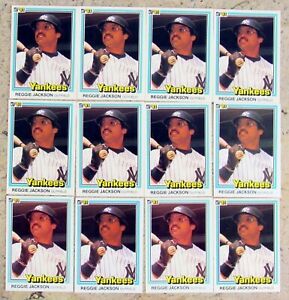 1981-Donruss-228-Reggie-Jackson-HOF-New-York-Yankees-12ct-Card-Lot