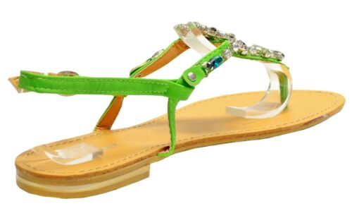 New women/'s shoes open toe t strap rhinestones sandals summer casual green