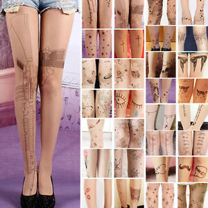 Trendy-Sexy-Tattoo-Pattern-Temptation-Sheer-Pantyhose-Tights-Stockings-Leggings