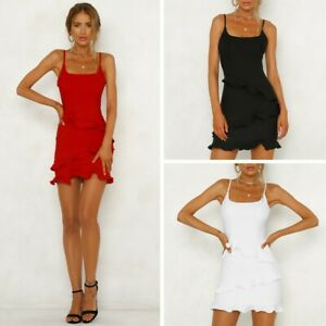 Women-Ruffle-Frill-Strappy-Dresses-Summer-Holiday-Party-Bodycon-Beach-Mini-Dress