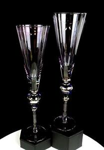 """BOHEMIAN CZECH AMETHYST GLASS SILVER OVERLAY 2 PIECE 11.75"""" FLUTED CHAMPAGNES"""