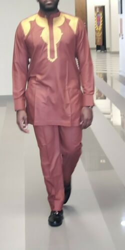 African Traditional Men/'s Embroidery Suit Pant and Top Clothing
