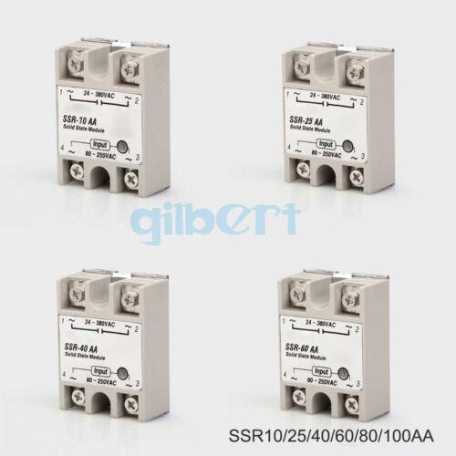 SSR Relé monofásico de estado sólido 10-100A AC-AC 80-280VAC entrada de carga 24-380VAC
