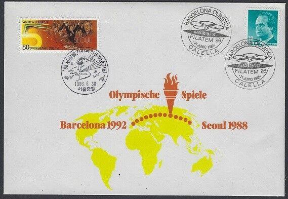 V2271 Olympia Barcelone 1992 + Séoul 1988/lettre Avec Cachet Spécial