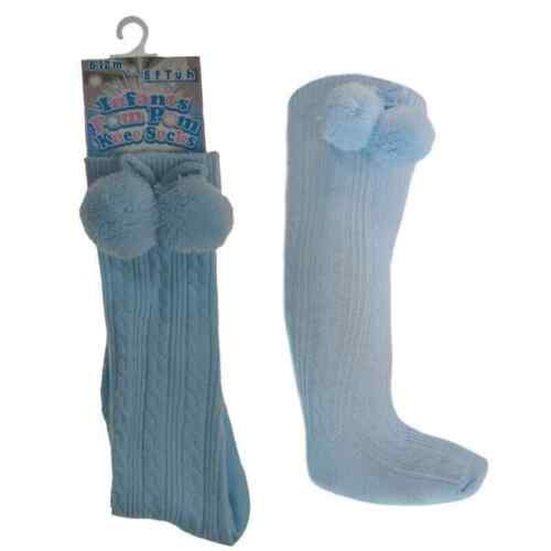 Baby Pom Pom Socks Knee High Spanish Romany Soft Touch Blue White 3-12 month